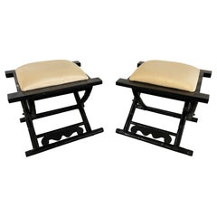 Pair of Possibly Casa Bella Black Lacquer Benches or Stools, 20th Century