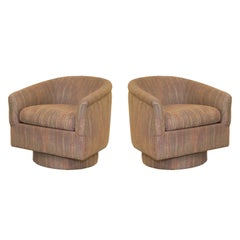 Pair of Post Modern Coral and Pink Flame Stitch Swivel Chairs