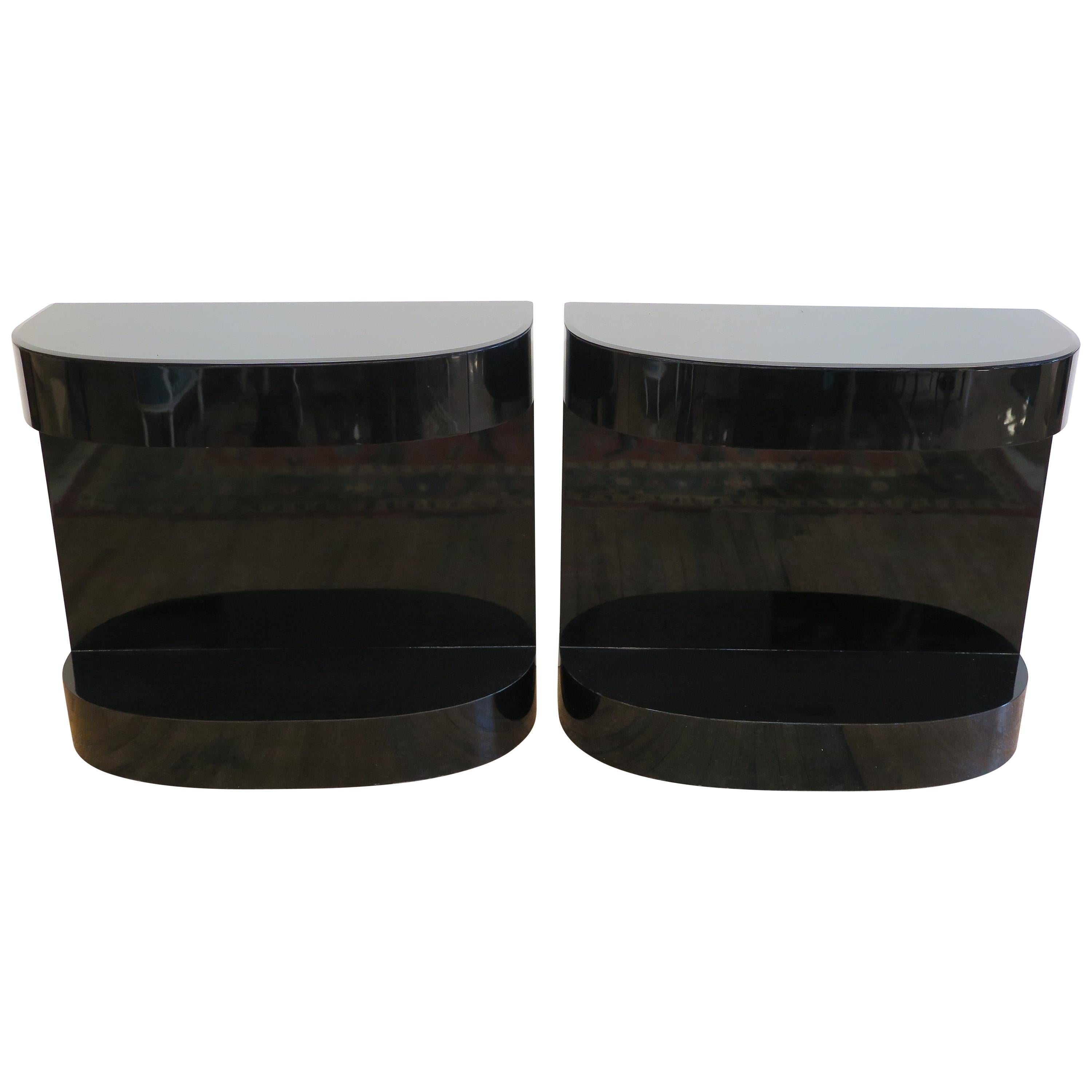 Pair of Post Modern Demi Lune Tables
