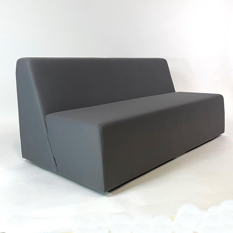 Post-Modern Pair of Postmodern Style Grey Gallery Sofas by Steelcase, Priced Per Piece For Sale