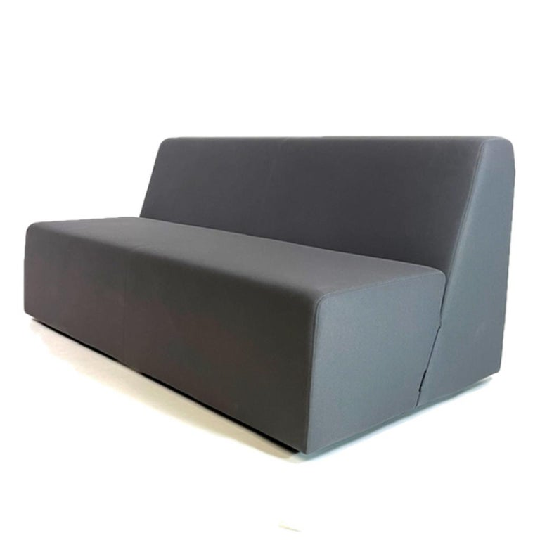 Contemporary Pair of Postmodern Style Grey Gallery Sofas by Steelcase, Priced Per Piece For Sale