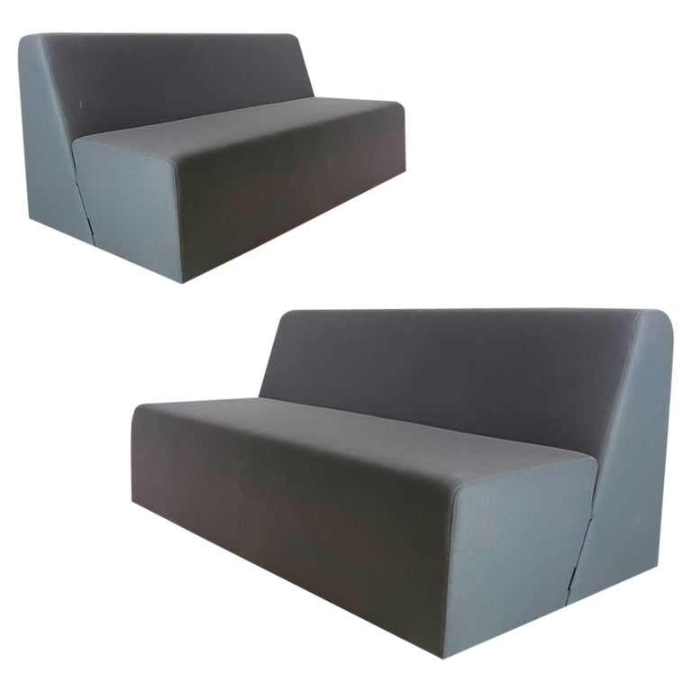 Pair of Postmodern Style Grey Gallery Sofas by Steelcase, Priced Per Piece For Sale