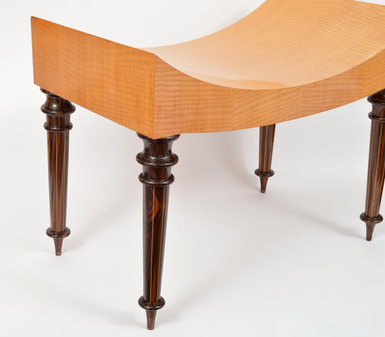 Pair of Postmodern Tiger Maple Benches on Inlaid Rosewood Legs by Todd Granzow For Sale 12