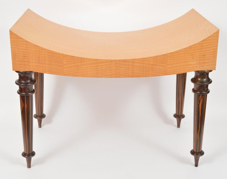 Pair of Postmodern Tiger Maple Benches on Inlaid Rosewood Legs by Todd Granzow For Sale 13