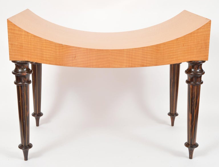 Pair of Postmodern Tiger Maple Benches on Inlaid Rosewood Legs by Todd Granzow For Sale 14