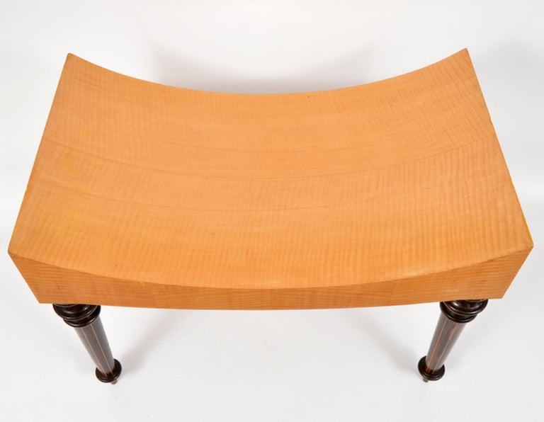 Pair of Postmodern Tiger Maple Benches on Inlaid Rosewood Legs by Todd Granzow In Good Condition For Sale In Ft. Lauderdale, FL
