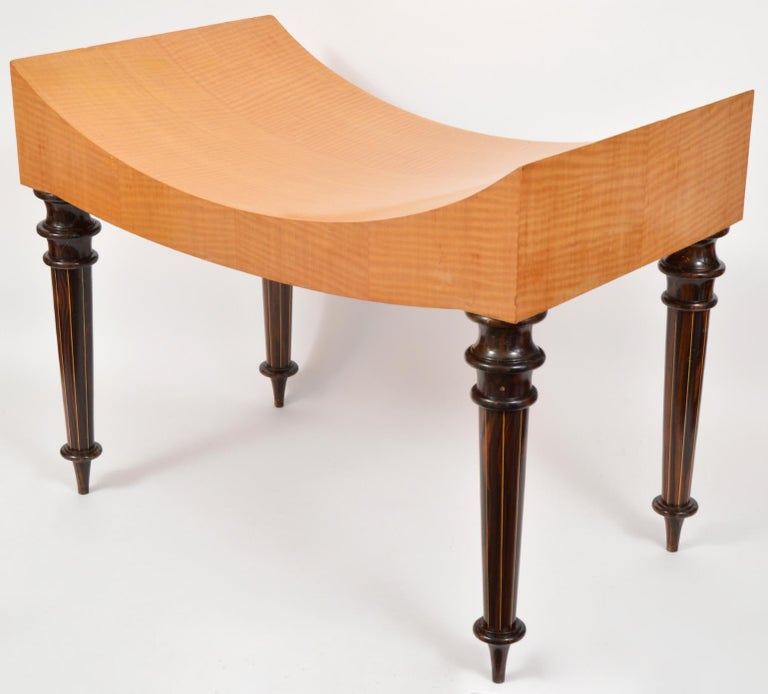 Pair of Postmodern Tiger Maple Benches on Inlaid Rosewood Legs by Todd Granzow For Sale 1