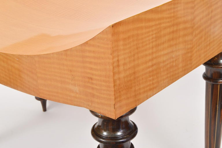 Pair of Postmodern Tiger Maple Benches on Inlaid Rosewood Legs by Todd Granzow For Sale 2