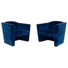 Pair of Postmodern Angular Barrel Back Lounge Chairs