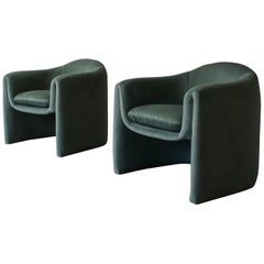 Pair of Postmodern Barrel Chairs