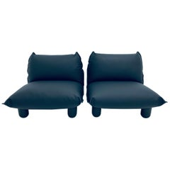 Pair of Postmodern Black Perforated Naugahyde Lounge Chairs, 1980s