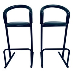 Pair of Postmodern Black Tubular Bar Stools with Foam Backs for Amisco, 1980s
