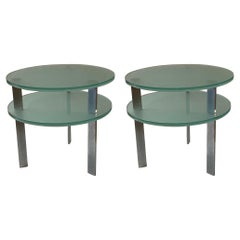 Pair of Postmodern Glass & Aluminum Legs Tables Designed by Peter Coan for Pace
