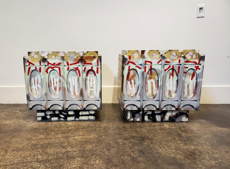 Post-Modern Pair of Postmodern Graffiti Art Brutalist Nightstands For Sale