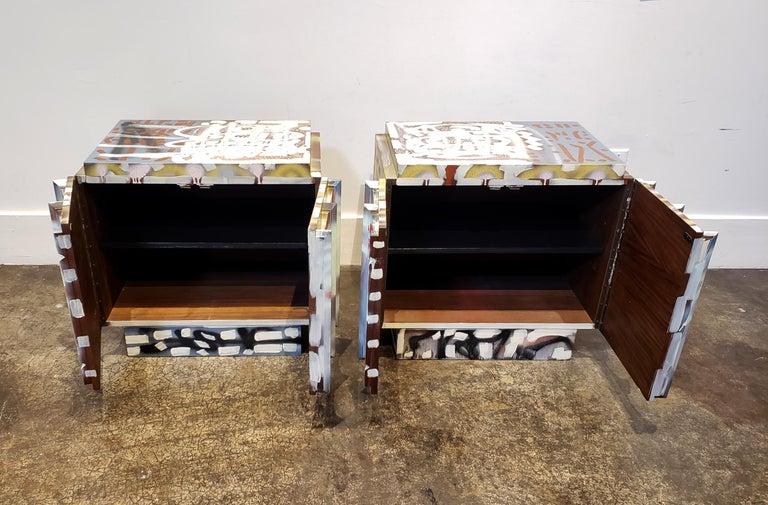 Hand-Painted Pair of Postmodern Graffiti Art Brutalist Nightstands For Sale