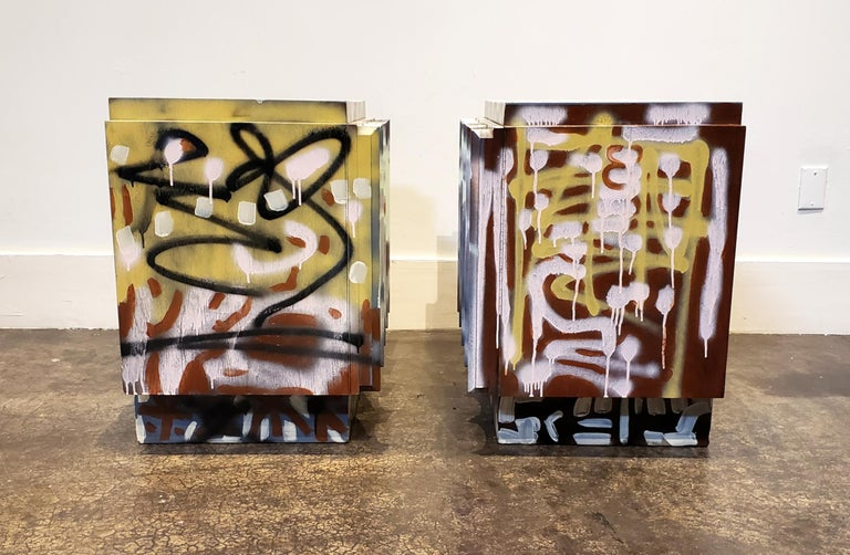 Pair of Postmodern Graffiti Art Brutalist Nightstands In Good Condition For Sale In Dallas, TX