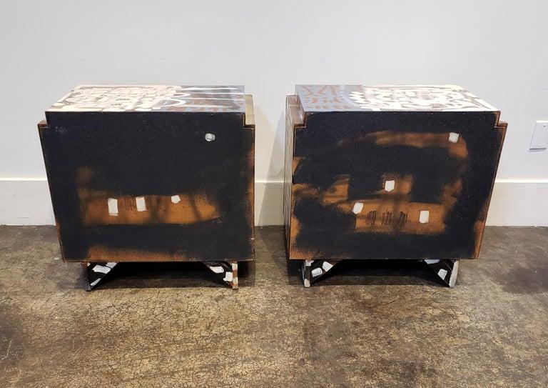 Contemporary Pair of Postmodern Graffiti Art Brutalist Nightstands For Sale