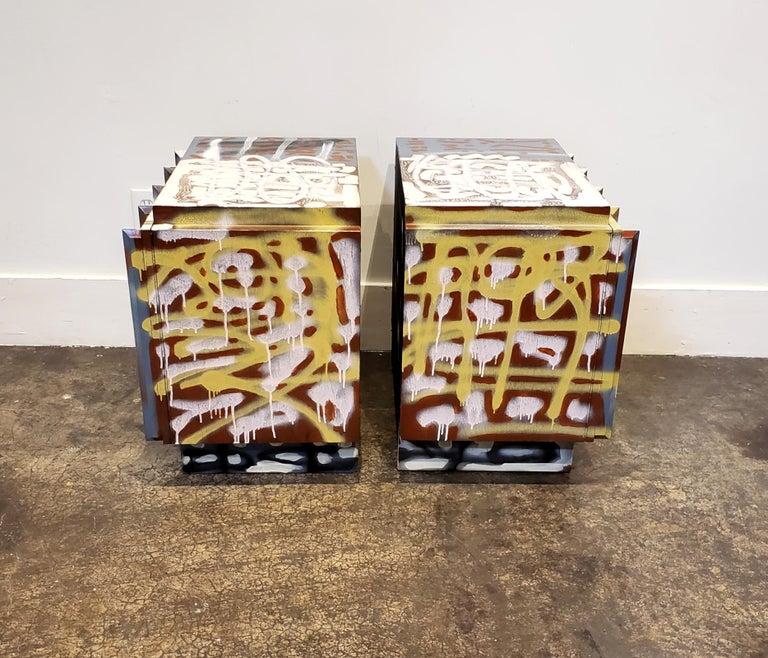 Wood Pair of Postmodern Graffiti Art Brutalist Nightstands For Sale