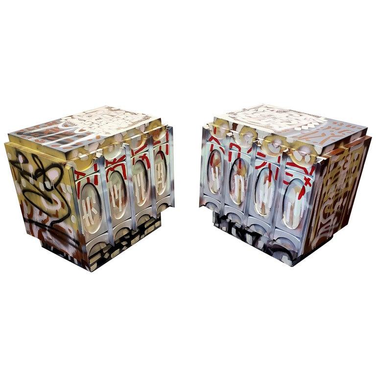 Pair of Postmodern Graffiti Art Brutalist Nightstands For Sale