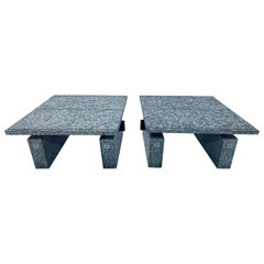 "Pair of Postmodern Granite and Steel ""Waiting"" Side Tables by Tecno, Italy, 1982"