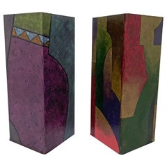 Pair of Postmodern Hand Painted Pedestals in the Memphis Group Style circa 1980s