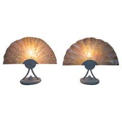 Pair of Postmodern Italian Iridescent Murano Glass Fan Table Lamps, 1980s