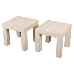 Pair of Postmodern Italian Travertine Side Tables