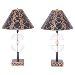 Pair of Postmodern Lucite Table Lamps