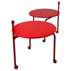 Pair of Postmodern Red Enameled Side/Folding Tables Memphis Era