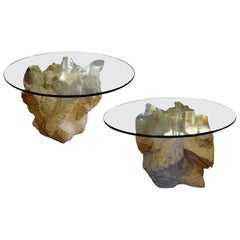 Pair of Postmodern Serge Roche Inspired Faux Stone Plaster Tables