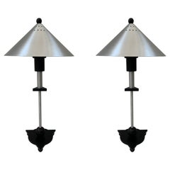 Pair of Postmodern Steel and Black Wood Table Lamps by BE-YANG, 1980s