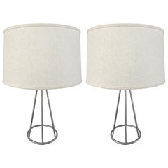 Pair of Postmodern Steel Frame Lamps