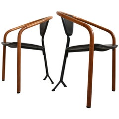 Pair of Postmodern 'Tacchi' Chairs by Toshiyuki Kita for AIDEC, Japan, 1980s
