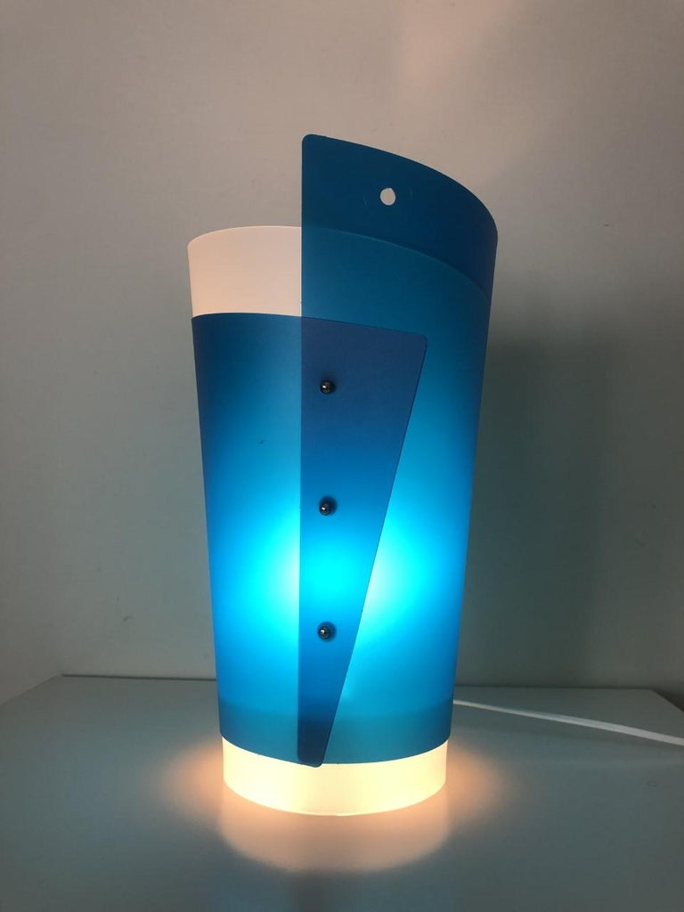 Postmodern beautiful Italian blue white table lamps from early 1990s, model