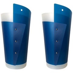 "Pair of Postmodern ""Tavolo"" Blue Lamps by Samuel Parker for Slamp, Early 1990s"