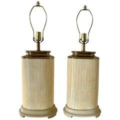 Pair of Postmodern Tessellated Bone Table Lamps