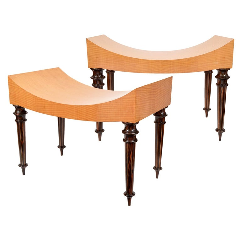 Pair of Postmodern Tiger Maple Benches on Inlaid Rosewood Legs by Todd Granzow For Sale