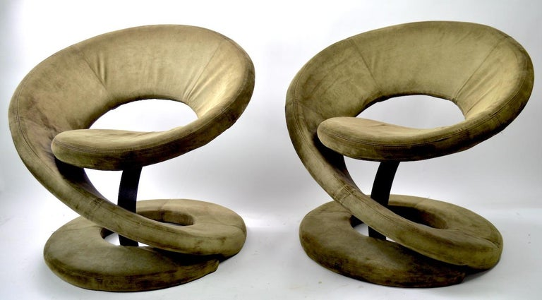 Sexy pair of corkscrew twist lounge chairs by Jaymar Furniture Quebec 69 Made in Canada. These chairs are in very fine, original, condition, clean and ready to use. Dark green fabric (we believe it's microfiber ultra suede) both retain their