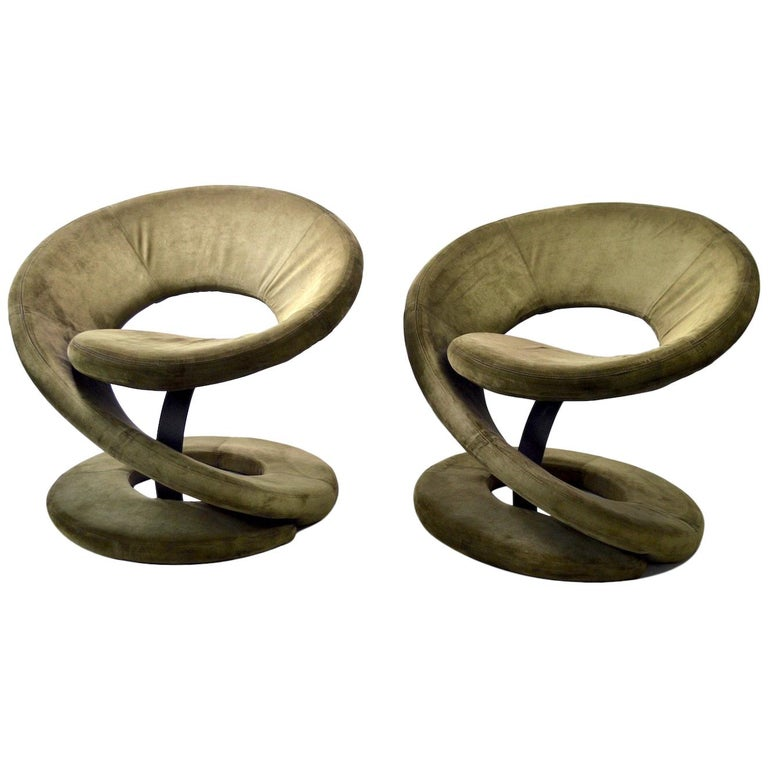 Pair of Postmodern Twist Chairs by Quebec 69 Jaymar Furniture For Sale