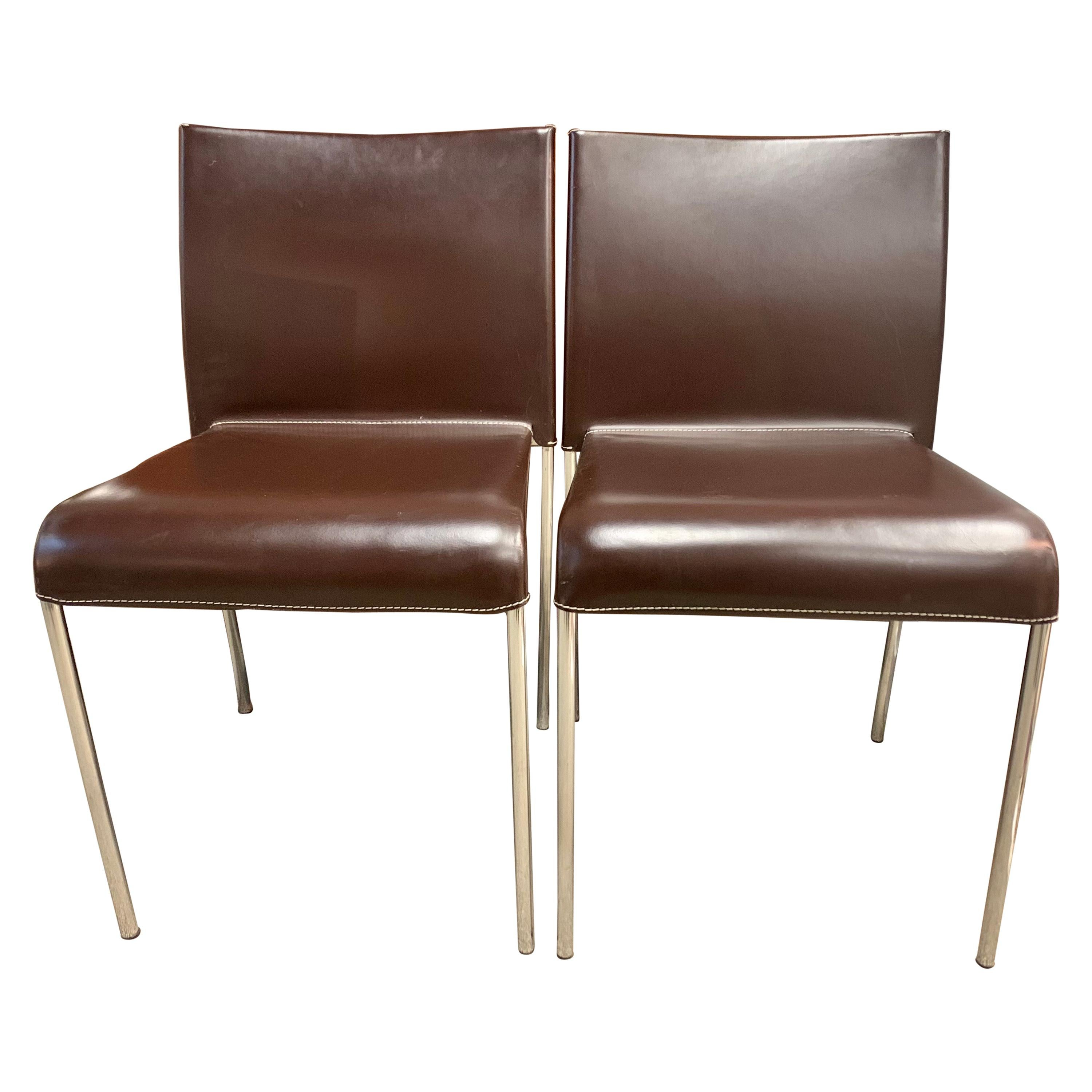 Pair of Potocco Italy Italian Brown Leather Dining Chairs