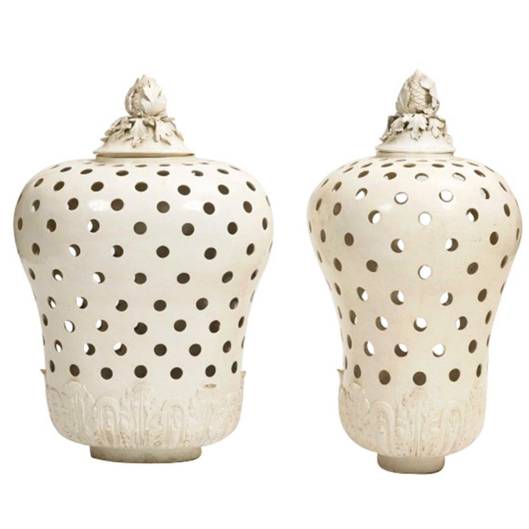 Pair of Potpourri Jars and Covers For Sale