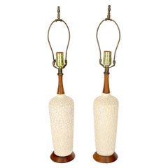 Pair of Pottery and Walnut Mid-Century Modern Table Lamps