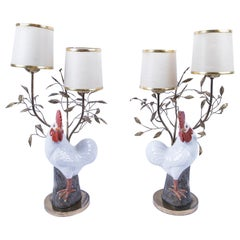 Pair of Pottery Cockerel/Rooster Table Lamps