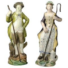 Pair of Pottery Figures of a Shepherd and Shepherdess by Ralph Wood Pottery