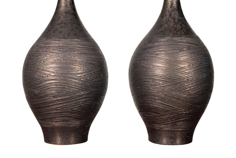 Brass Pair of Pottery Table Lamps by Design Technics For Sale