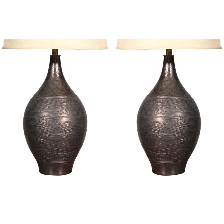 Pair of Pottery Table Lamps by Design Technics For Sale