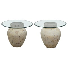 Pair of Pottery Urn Pots, Large Thick Beveled Glass Tops Side End Lamp Tables