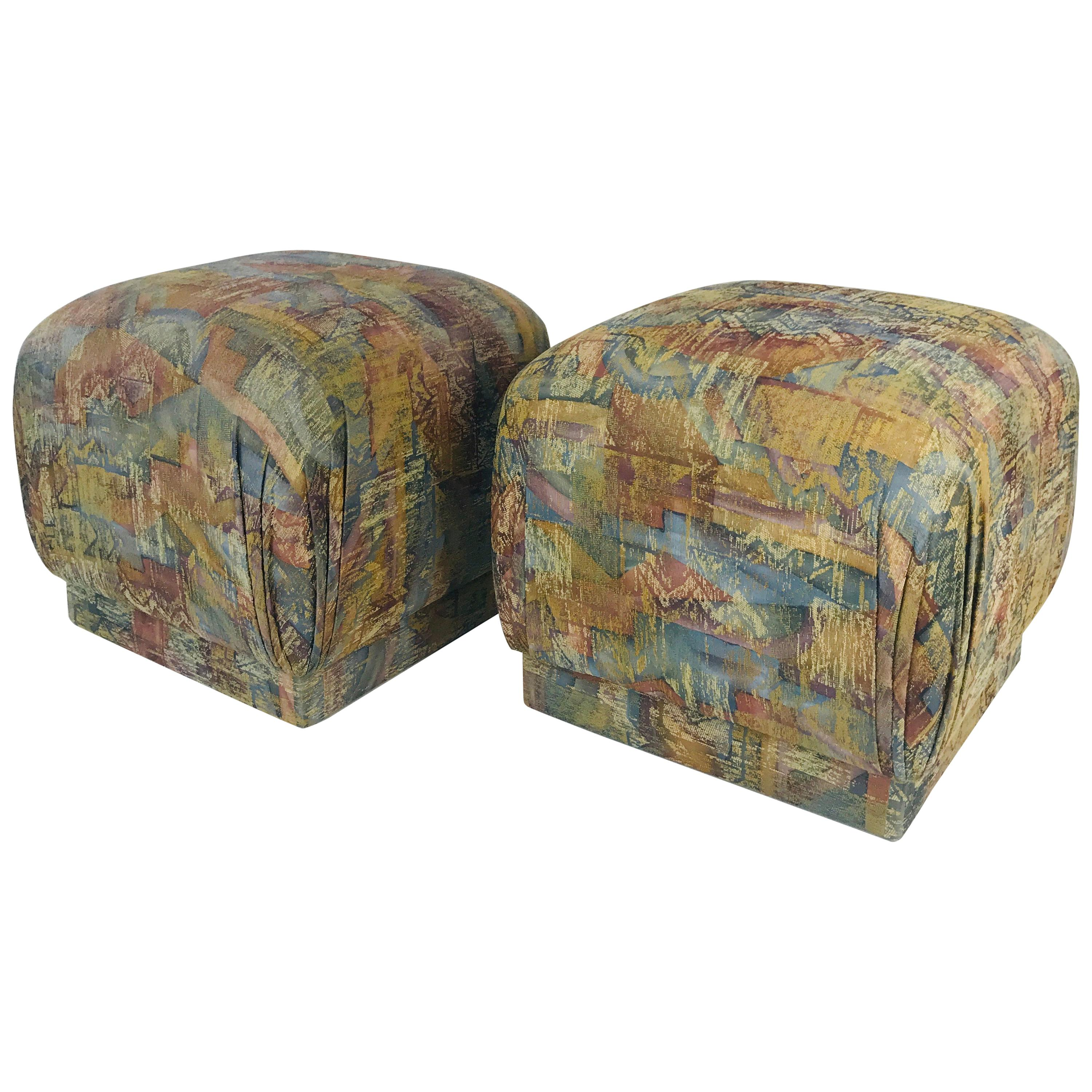 Pair of Pouf Ottomans with Plinth Base