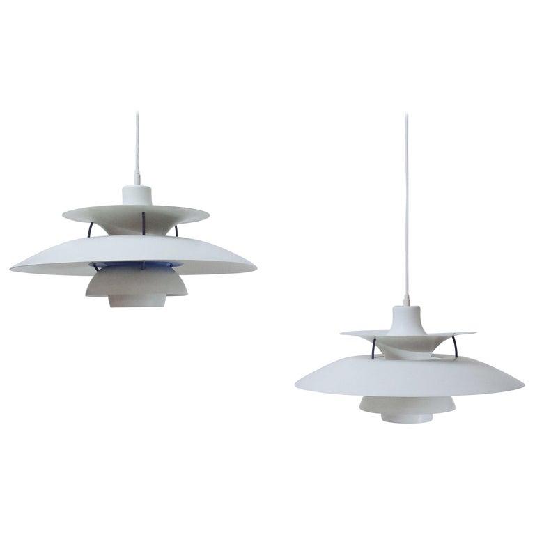 Danish Design Classic Pair of Poul Henningsen PH5 Pendant Lamps, 1960s For Sale