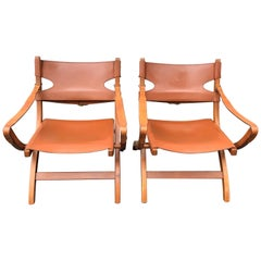 Pair of Poul Hundevad Campaign X-Leather Folding Lounge Chairs, Denmark, 1950s